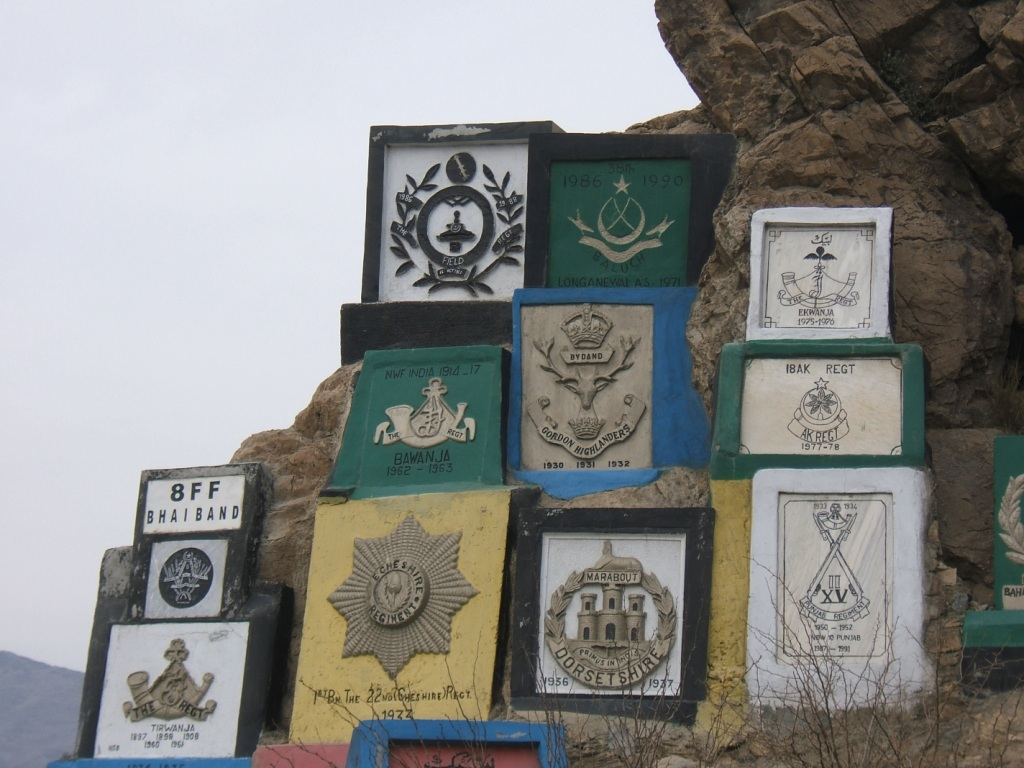 You see these unit plaques throughout the Khyber Pass