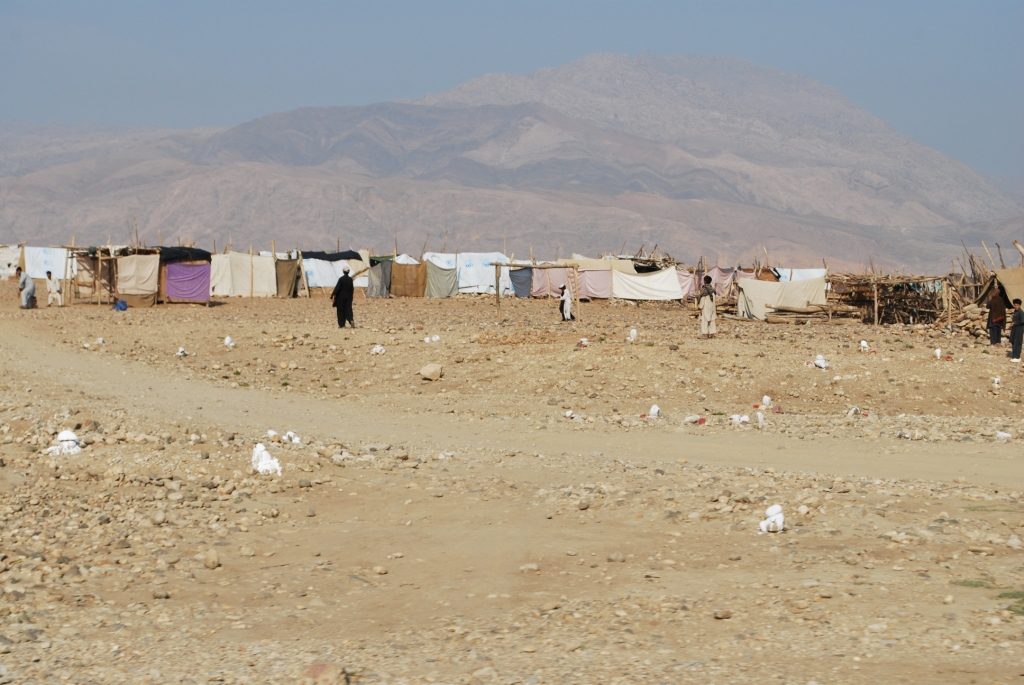 UN refugee camp - the white rocks denote paths which have been de-mined