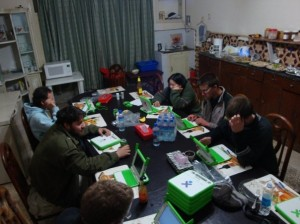 "We've chased away the other Taj guests from the dining table by playing with our ""Hundred Dollar Laptop""s with built-in Pashto keyboards... while eating dinner. We charge the laptops at the Fablab and loan them out for users to take home or on field trips."