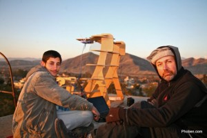 Said Jalal from Bagrami and Steve from Seattle atop the water tower near the long haul link from the Fab Lab