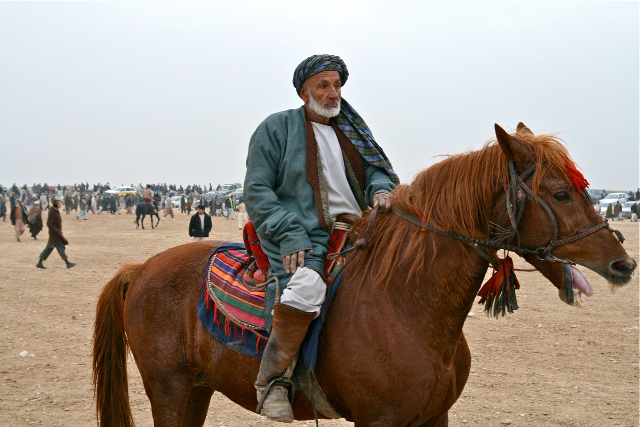Buzkashi player at the end of a match.  Mazar-i-Sharif, Afghanistan 2007