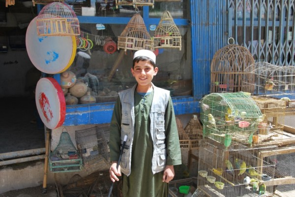 Afghans love to have their pictures taklen and they are fond of birds too - this boy runs a bird shop in downtown Gardez