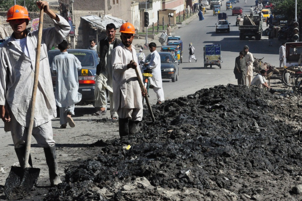 This is very early in the morning - we pile up this sludge all day and have crews working through the night to haul it away. Jalalabad is the only city in which we can work are night.