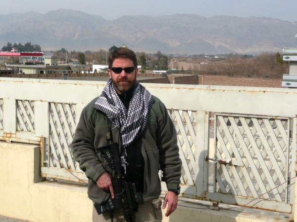 Brad Thor on the Baba deck of FOB Taj
