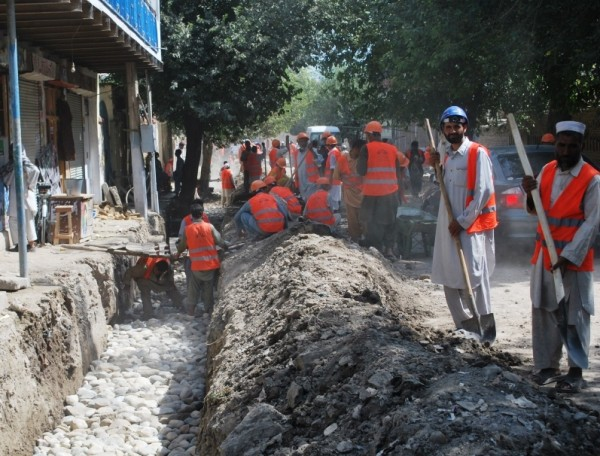 This is rapid reconstruction of its finest. The Mayor of Jalabad has provided the stone, cement, engineers and heavy equipment. My project provides the manpower, hand tools, vehicle fuel and worker supervision. We are building side ditches which will channel water out of the city inb order to reduce flooding and employing over 800 men from the poorest of the poor in Nangarhar Province. Combing American project monies with the municipal budget to allows the rapid completion of projects which are important to the Afghans.