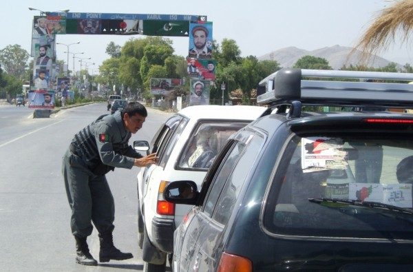 ANP checkpoint in Jalalabad which is similar to those found all over Afghanistan. This was on election day and the police were being attentive.  During Ramadan they seldon stop anyone and they never fool with traffic at night.  Think some real mentorship could make these guys more effective?  You have to get off the FOB and live with these cats to do that and we are not anywhere close to doing that.
