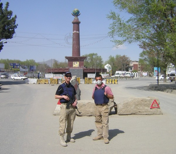 Anyone who has visited the US Embassy recently may be startled to see this picture but this was how we started the contract - an armed guard and one unarmed terp out front on Masooud Road with a knee high concreate barrier.  This entire street is now closed off and full of T Walls.  We did have a drop arm and armed men directly behing the intiaial screening crew but this was nerve racking duty and the boys did not like it much.