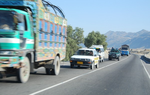 Traffic on the Jalalabad - Kabul road. Traffic has always flowed freely on this vital route despite periodic low level attacks aimed mainly at fuel tankers.