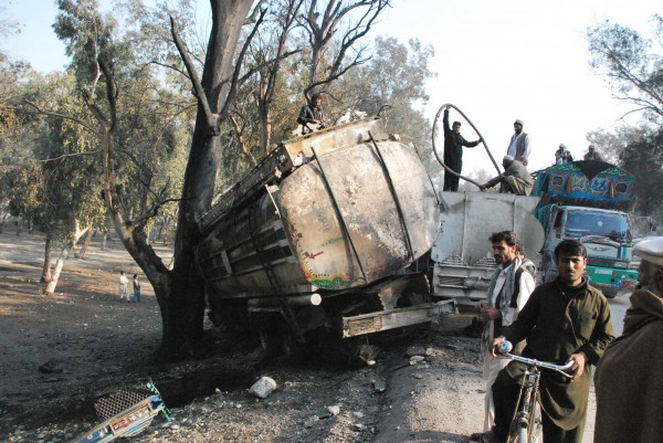 This turned out to be a traffic accident resulting in a large fire which is a routine event on Afghan roads.