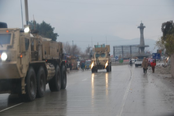 It is good to see the Army using the truck bypass and avoiding the congestion of downtown Jalalabad - good for the army who has a clear route with good observation and good for the locals who have enough traffic congestion to deal with daily