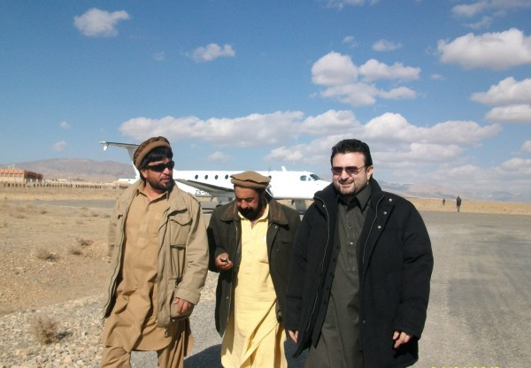 Chief Ajmal Khan Azizi, with Shah Mohammad and his Tribal Police chief Amir Mohammad moments after he landed in Gardez last month.