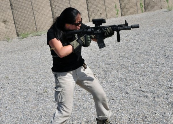 Amy Sun working out with the pig snout M4 last fall. With a little funding Amy and crew could make huge contributions helping Afghans coonect to the modern world.