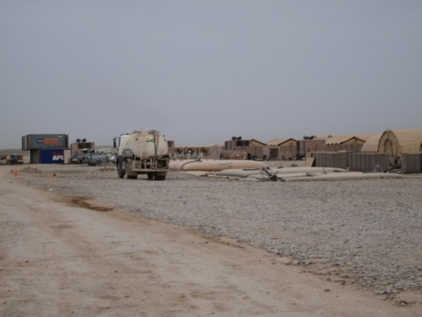 RCT 2 base camp in a remote corner of southern Afghanistan. There was nothing here two weeks ago and there will be a lot more in the weeks to come. Say what you will about the big contractors like KBR but they have learned how to put up a solid camp quickly and there is nothing easy about that