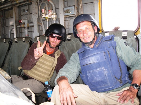 "Jeff ""Raybo"" Radan and I heading out to the far reaches of Helmand Province. Raybo was an instructor with Paul and I at Quantico but he got out after that tour and became a hippy. He is now working for The Boss under Mullah John as the USAID implemtor for Helmand Province cash for work programs. Like me Raybo is here for the duration and like me his long close relationship wiht the current Marine Corps battle leaders allows him to flatten the complex aid hierarchie which is critical to making complex prgrams effective."