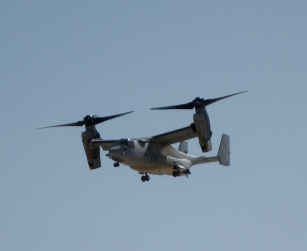The Osprey is way cool fast, quiet, and no transmission fluid leaking all over your clothes and gear from the overhead. I have never been on a Marine Corps transport which does not leak transmission fluid all over you