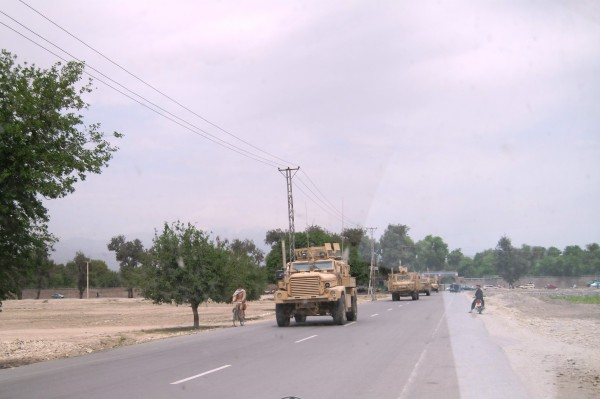 Heading out on the Jalalabad by-pass road. Trying to get large convoys through the congestion of downtown is silly
