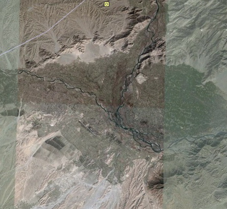 Shot of the area where the Kunar and Kabul rivers join in 2004