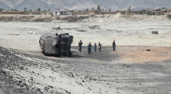 28 MAY - Moments before blowing themselves up the dynamic motorcycle duo correctly placed a mine on this truck some four miles west of their final act of sabatoge