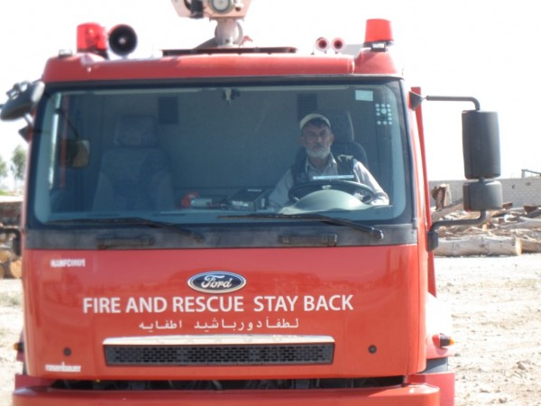 The local people spontainoulsly cheer when they see new fire trucks like this one roll through the streets