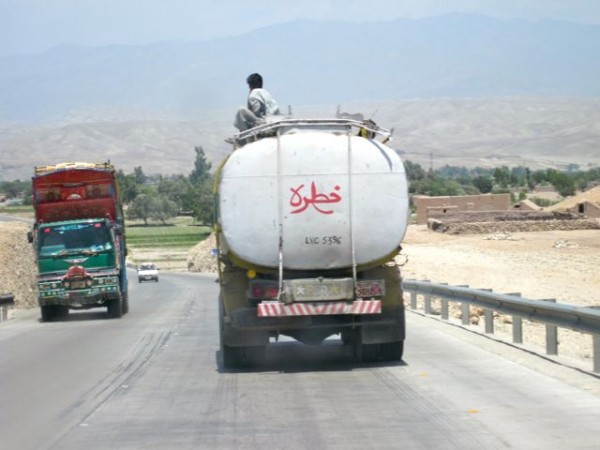 All the fuel tankers traveling the Jalalabad truck by-pass now put their A-drivers on the top to thwart motorcyle mounted limpet mine bombers.