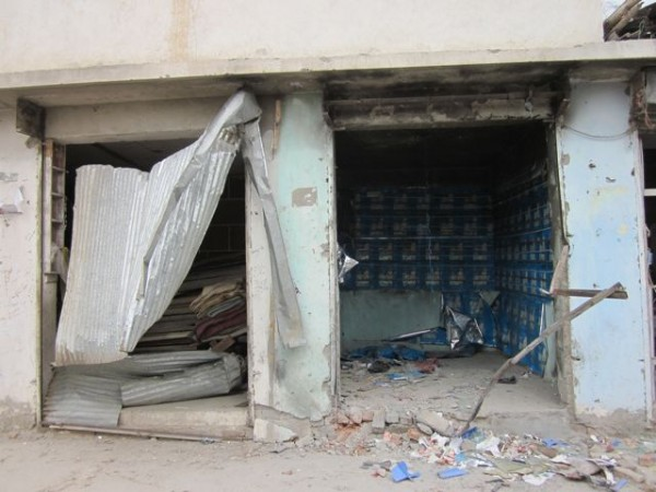 The Taliban have been getting after the lucrative and popular DVD and CD shops all summer. This one was destroyed by about 3lbs of explosives which went off around midnight when it was empty.