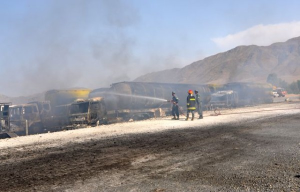 Today 5 trucks were destoyed in a gas station a few miles to the east of Jalalabad by a single limpet mine attack