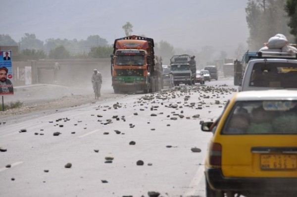 The aftermath of a brief reportedly violent demonstration on the Jalabad/Torkham road yesterday morning