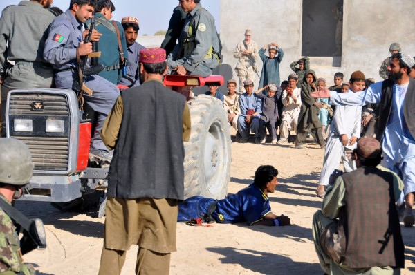 "The show concluded with the classic ""run over the Parwan with a tractor load of police trick"
