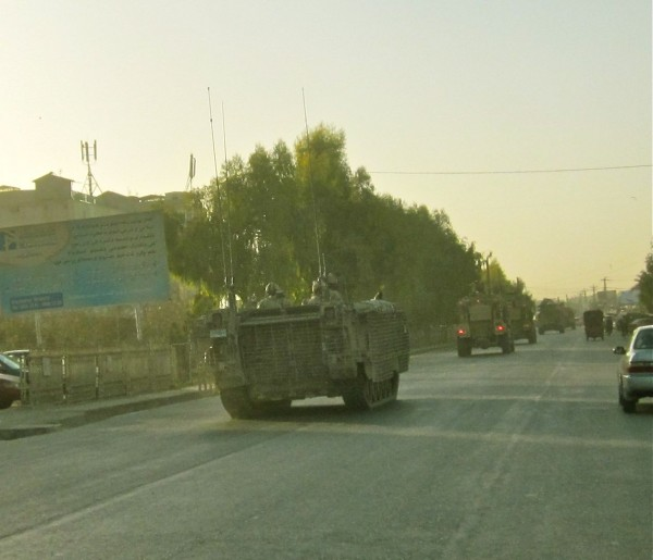 Canadian and American Army Patrol in downtown Kandahar last month.  This was a rare sight prior to the surge but now mounted patrols are common