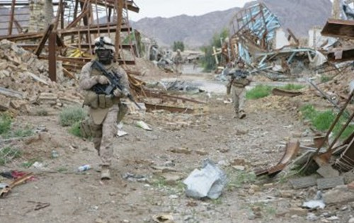 This was the main street of Naw Zad bazaar a year ago.  Offical USMC photo