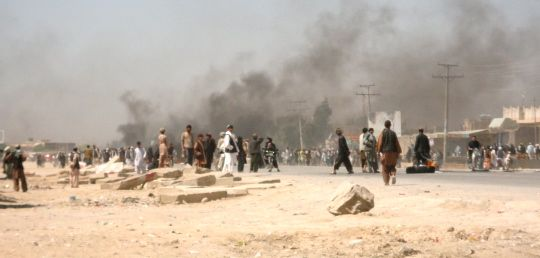 One of the many smaller protests in downtown Kandahar this morning