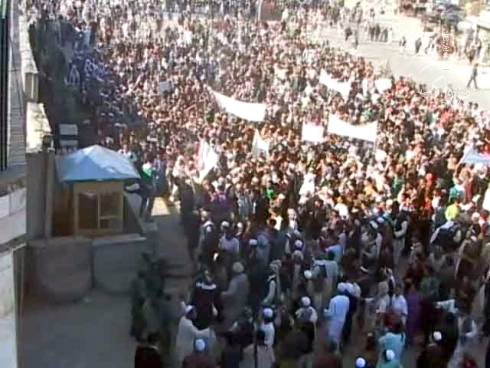 The only way to handle a crowd this big and this close would be with CS gas grenades while pleading with ISAF to come to the rescue
