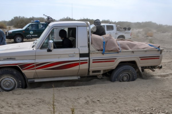 This is the first of about 15 times that the Chicken Truck got stuck in the sand