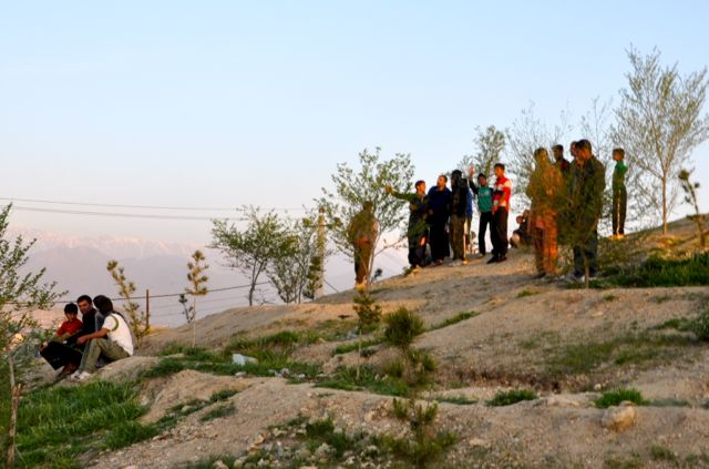 Watching the action from Bibi Mahroo Hill