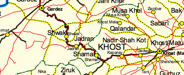 The Gardez to Khost highway - this tiny part of the Southeast Region