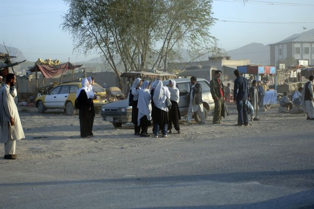 This is a picture from 2005 of kids waiting for their school bus on the corner of Jalalabad Road and the Green Village road. There are hundreds more children walking to schools along that road every morning now. At least one of those killed and many of the wounded today were school children.